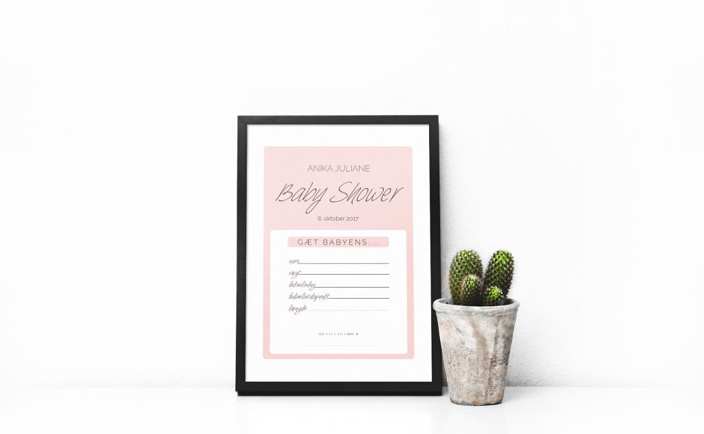 Print-selv – Babyshower – pink