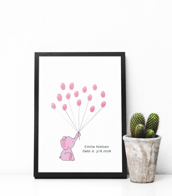 Print-selv barnedåb – rosa