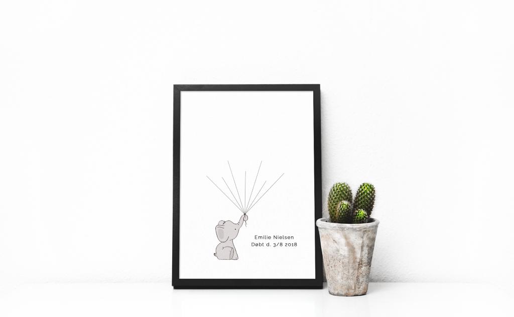 Print-selv barnedåb – grå