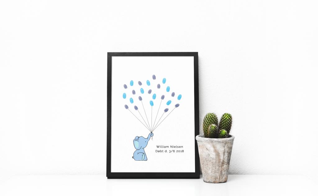 Print-selv barnedåb – blå